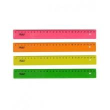 """Линейка пластиковая """"Hatber"""", 25см, цветная, флуоресцентная, ассорти"""