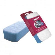 """Губка для уборки дома """"York"""", универсальная, 13,5x7x4,3см, бело-голубая, 1 штука в упаковке"""