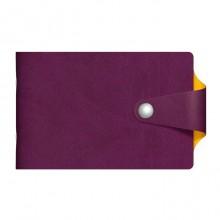 """Визитница """"Hatber"""", 70x120мм, 12 карманов, на кнопке, серия """"Vivella Bicolour"""", фиолетово-жёлтая"""