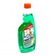 """Средство для мытья стекла """"Мистер Мускул"""", Зелёный, с нашатырным спиртом, сменная бутылка, 500мл"""