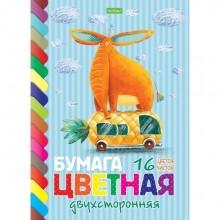 """Набор цветной бумаги """"Hatber Eco"""", 16л, 16цв, А4, двухсторонняя, серия """"Прикольный слон"""", на скобе"""