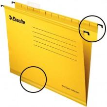 """Папка картонная подвесная """"Esslte Plus"""", Foolscap, 412x240мм, 300л, 210гр/м2, жёлтая, 25шт в плёнке"""
