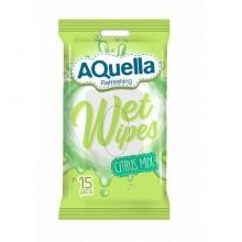 """Салфетки влажные """"Aquella"""", освежающие, упакованы по 15шт"""