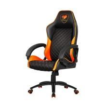 Игровое компьютерное кресло, Cougar, FUSION (ORANGE), Искусственная кожа PU AIR, (Ш)53*(Г)54*(В)116 (124) см, Чёрно-Оранжевый