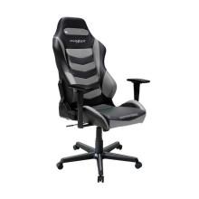 Игровое компьютерное кресло, DX Racer, OH/DM166/NG, Эко-кожа и винил PU,PVC, Металлическая основа кресла, Механизм качания: топ-ган, Прорезиненные колеса в комплектации, Чёрный-серый