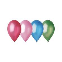 Воздушные шарики, ВЕСЁЛАЯ ЗАТЕЯ, 1111-0106, (10 шт. в пакете), Размер 25 см, Латекс, Цвета металлик в ассортименте, Пакет