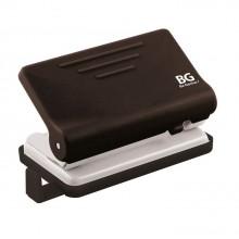 """Дырокол """"BG Active"""", пластиковый, 10л, с линейкой, чёрно-белый, в картонной упаковке"""