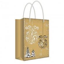"""Пакет бумажный подарочный """"Русский дизайн"""", 18x22,7x10см, крафт, серия """"Новогодние шары"""""""