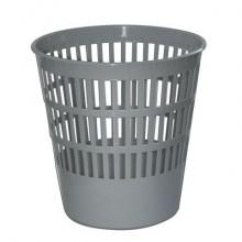 """Корзина пластиковая для бумаг """"Brauberg"""", 16л, круглая, сетчатая, серая"""