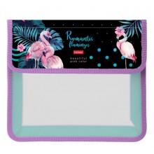 """Папка пластиковая для тетрадей """"Hatber"""", А5, 1 отделение, на липучке, серия """"Romantic Flamingos"""""""