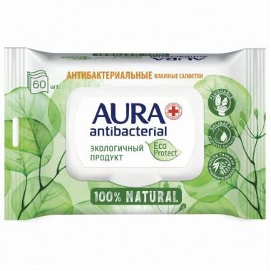 """Салфетки влажные """"AURA"""", антибактериальные """"ECO Protect"""", клапан крышка, упакованы по 60шт"""