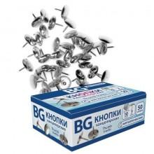 """Кнопки-гвоздики канцелярские """"BG"""", 10мм, никелированные, 50шт в картонной упаковке"""