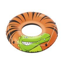 Круг для плавания River Gator 119 см, BESTWAY, 36108, Винил, 12+, Двухкамерный, Леер по периметру, Оранжево/Чёрный, Цветная коробка