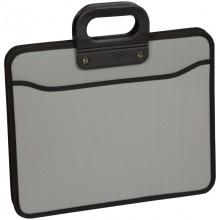 """Папка-портфель пластиковая """"OfficeSpace"""", А4+, 390x315x120мм, 3 отделения, на молнии, серая"""