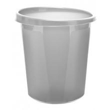 """Корзина пластиковая для бумаг """"Стамм"""", 9л, круглая, цельная, серая"""