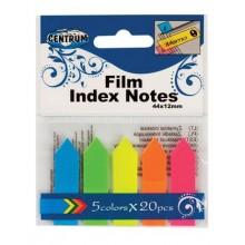 Набор самоклеящихся закладок пластиковых Centrum Neon 5 цветов по 20 листов 45х12мм в ПВХ упаковке