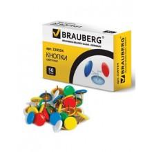"""Кнопки канцелярские """"Brauberg"""", 10мм, цветные, 50 штук в картонной упаковке"""