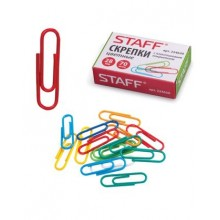 """Скрепки канцелярские """"Staff"""", 28мм, металлические, цветные, круглые, 70 штук в картонной упаковке"""