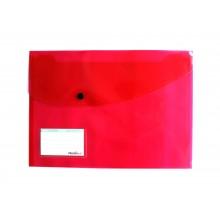 Папка-конверт Пластиковая на кнопке А4ф, 180мкм, красная